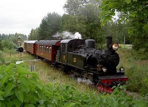 Smalspåret Västervik - Ankarsrum och omvänt med ångtåg