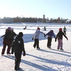 Skridskoåkare på is.