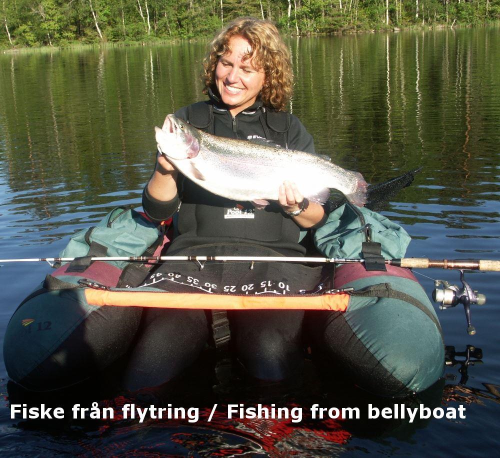 Fiska Regnbågsöring från flytring i privat sjö!