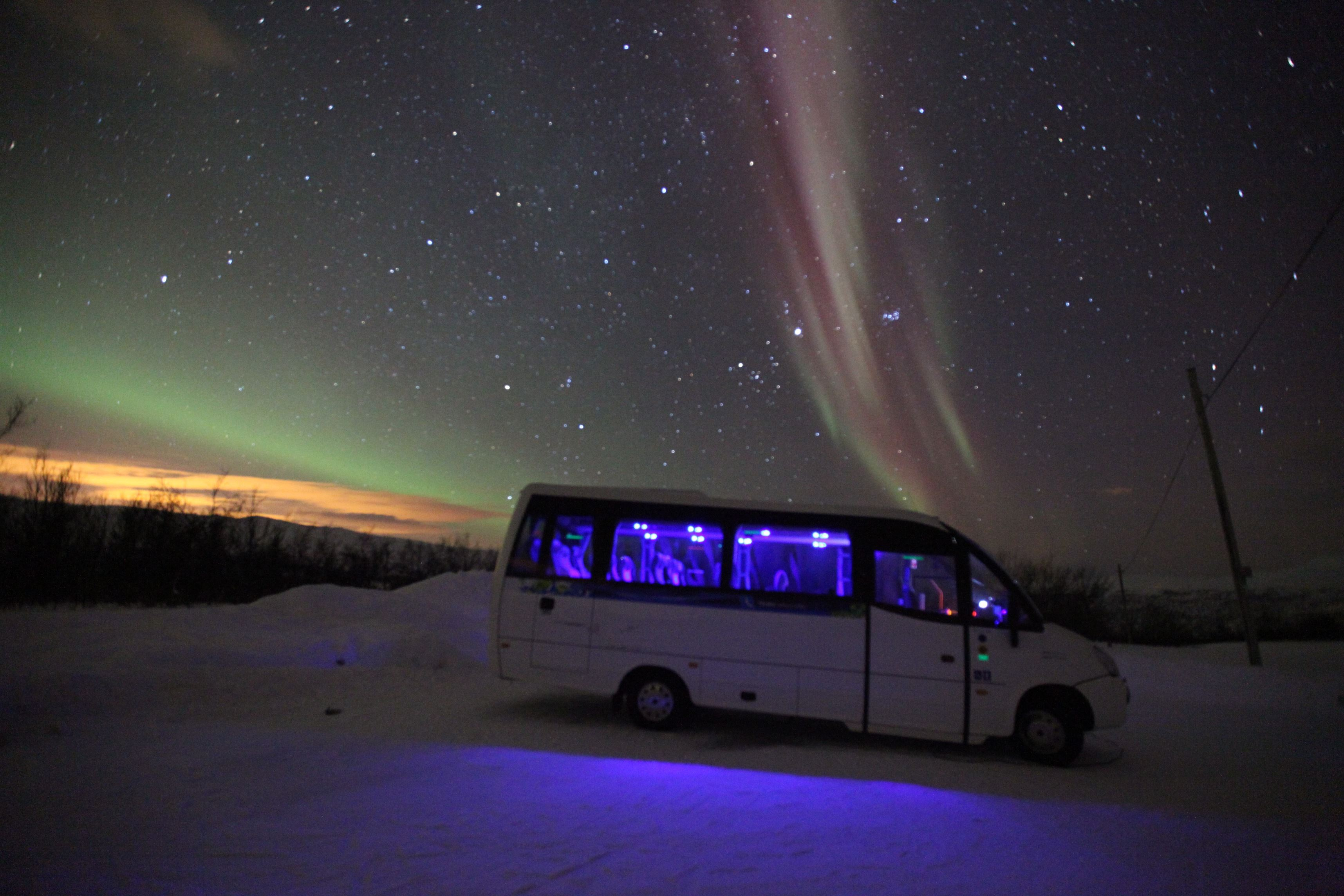 Amazing Aurora with a meal - Karlsøy Bus
