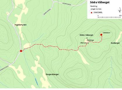 Södra Vålberget - vandringsled