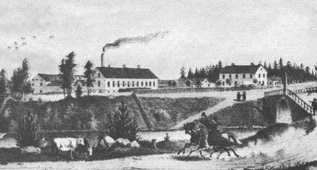 Ur Gävle Stadsarkivs samlingar., Illustration över Gustavsbro 1864. Till vänster syns Gustavsbro Bryggeri och till höger Västra fabriken.