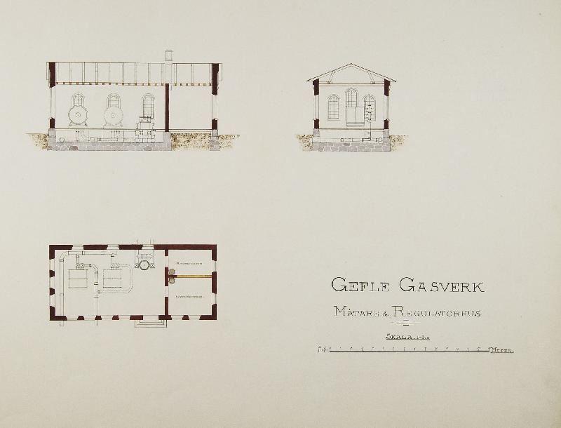 Ur Gävle Stadsarkivs samlingar., Ferdinand Bobergs ritning till Mätarhuset från 1892.