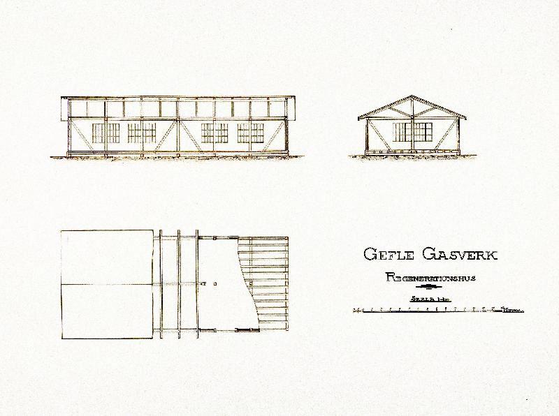 Ur Gävle Stadsarkivs samlingar., Ferdinand Bobergs ritning till Regenerationshuset från 1892.