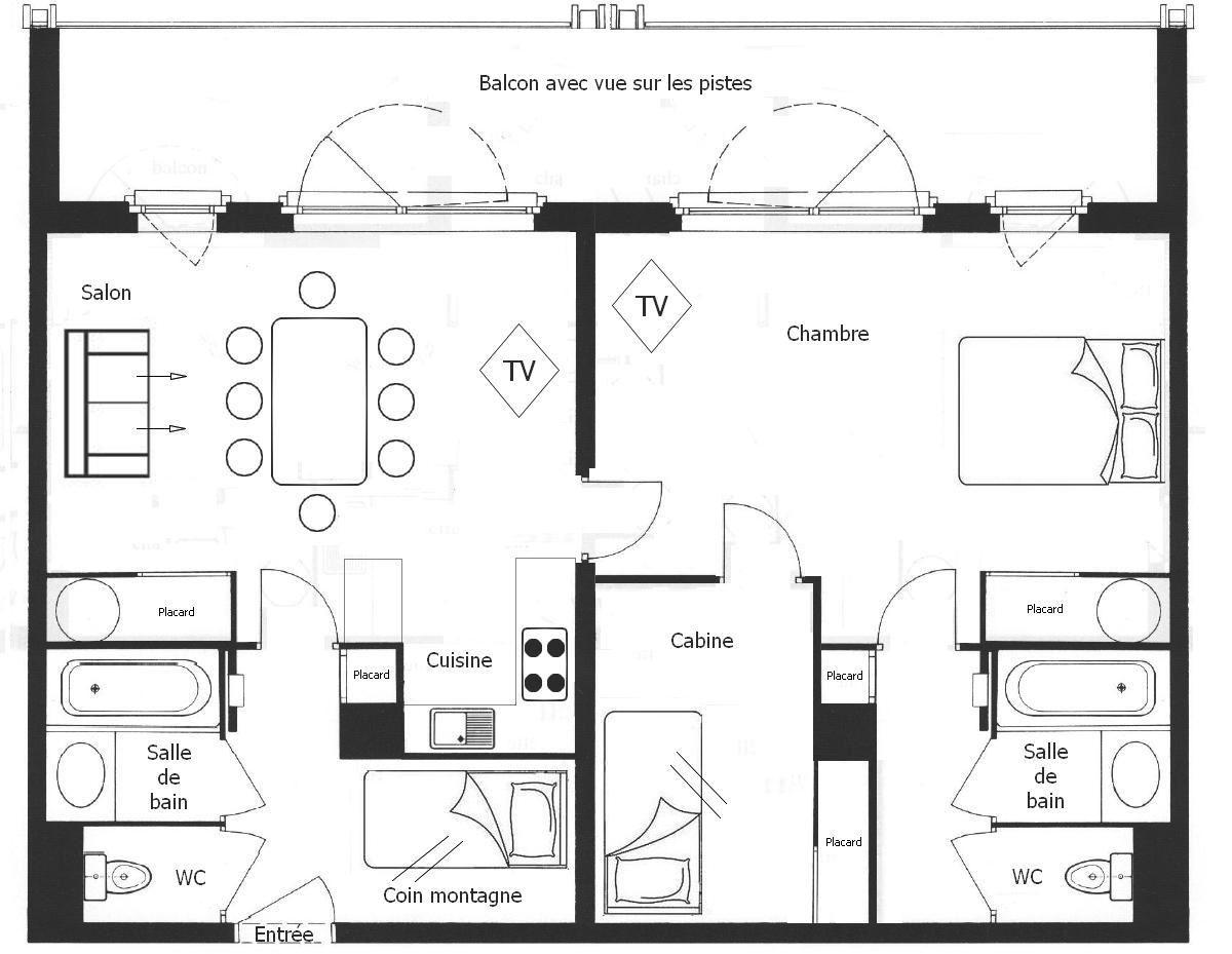 2 Pièces cabines 8 Pers skis aux pieds / BELLEVUE 40