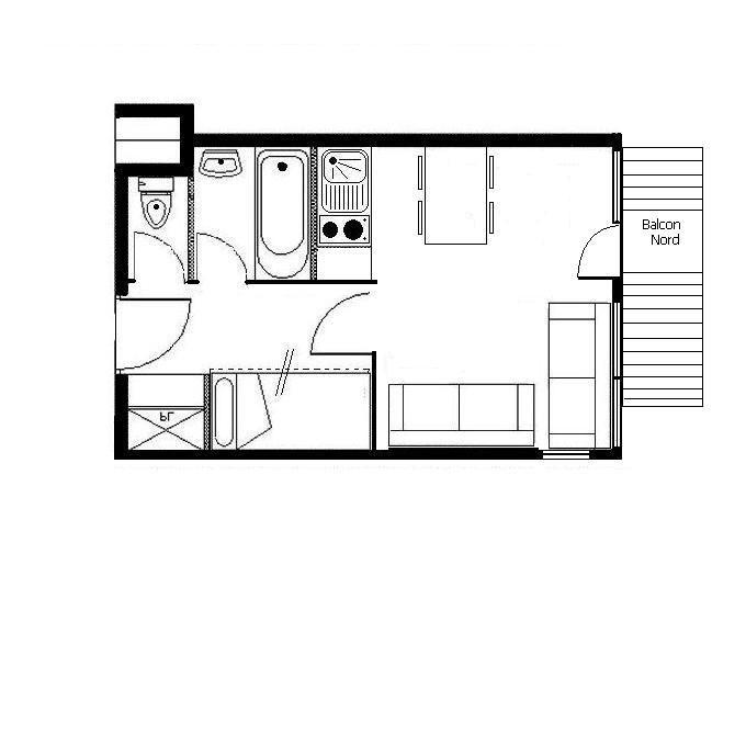 Studio cabine 4 Pers skis aux pieds / BOEDETTE 515