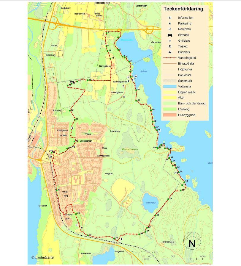 Bike trail Spånenleden 12 km.
