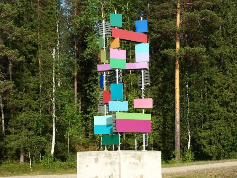 Bo Nilsson,  © Konstvägen Sju Älvar, Konstverket Vägabstraktion vid Lögdeälven
