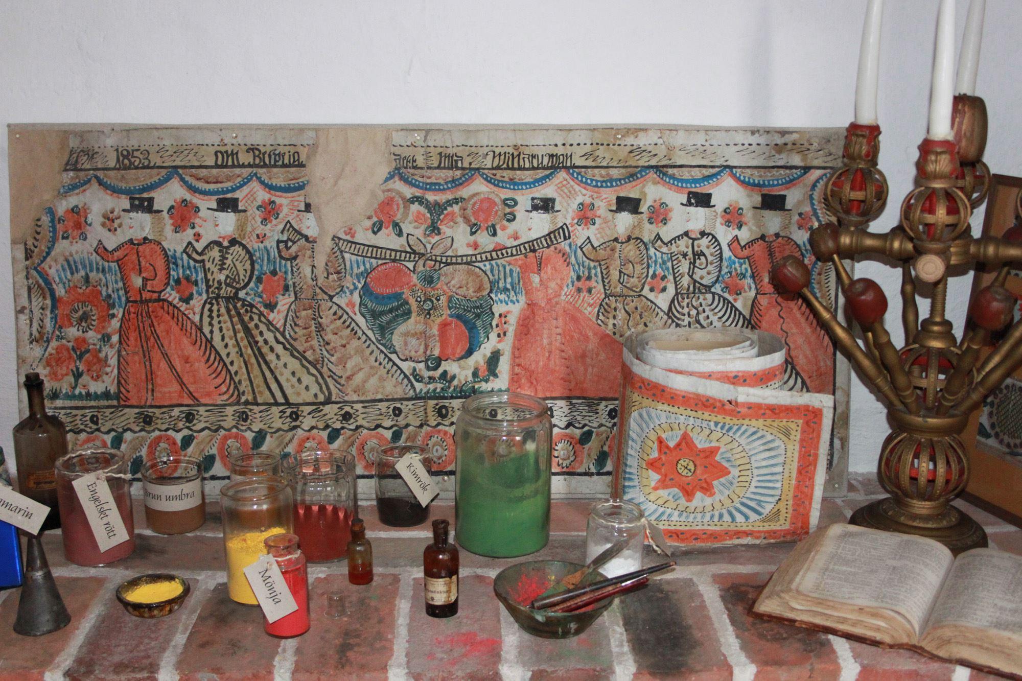 © Ljungby Museum, Bonadsrummet- färger och tillbehör