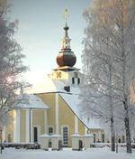 Leksands kyrka i vinterskrud