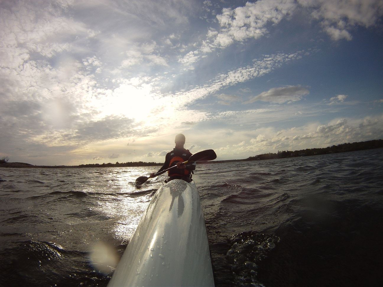 Test to kayak with a surfski in the small waves of archipelago of Karlskrona.