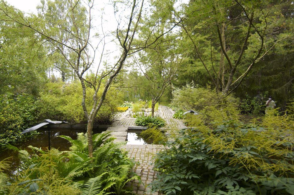 Foto: Dan Rosenholm, Länets vackraste trädgårdar ligger i Hyndtjärn, Salsåker, Nordingrå. I besöksträdgården samverkar byggnadernas arkitektur med landskapsarkitekturen.