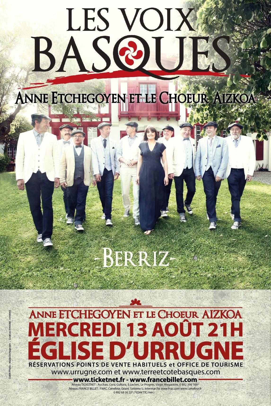 LES VOIX BASQUES avec Anne ETCHEGOYEN et le Chœur AIZKOA en concert à l'église d'URRUGNE
