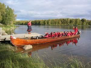 Riverboat along the Norwegian-Russian border