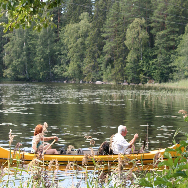Foto: Pia R Wallner,  © Copyright, Canoe route - Årängsån