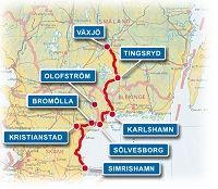 © Sydostleden, Karta över sydostleden