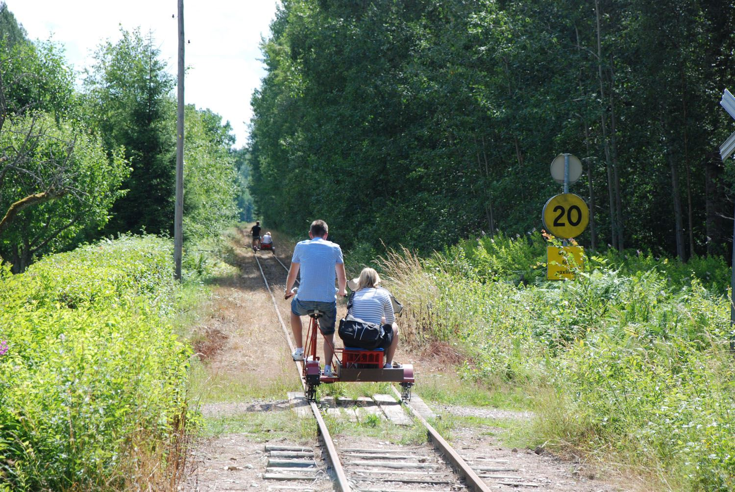 Go by handcar on the narrow gauge between Hultsfred and Målilla