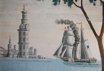 Karin Sandström, Båt med segel och ånga från 1857.