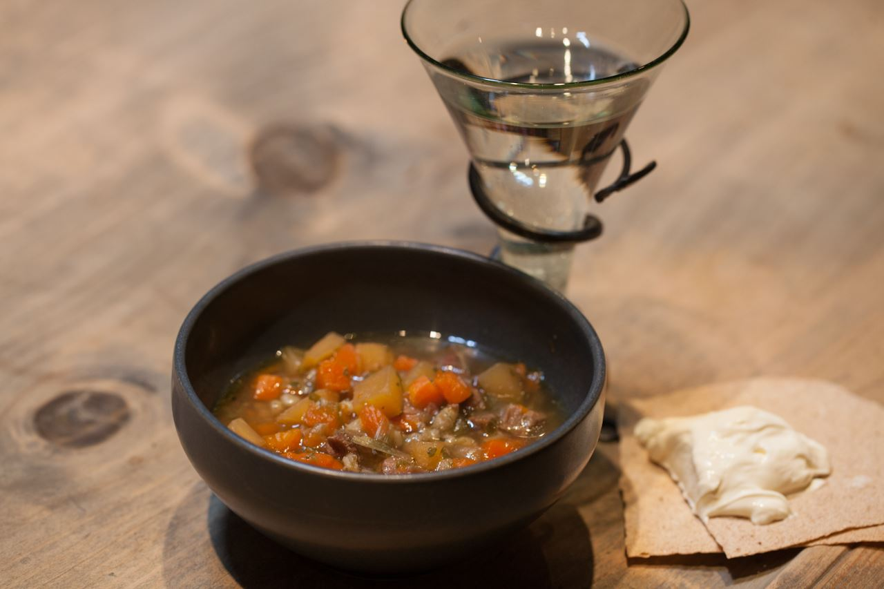 Enjoy lambsoup at Lofotr Vikingmuseum