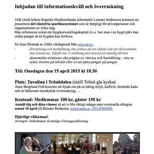 Hos Tuvalina i Trönödalen den 15 april kl 18.30
