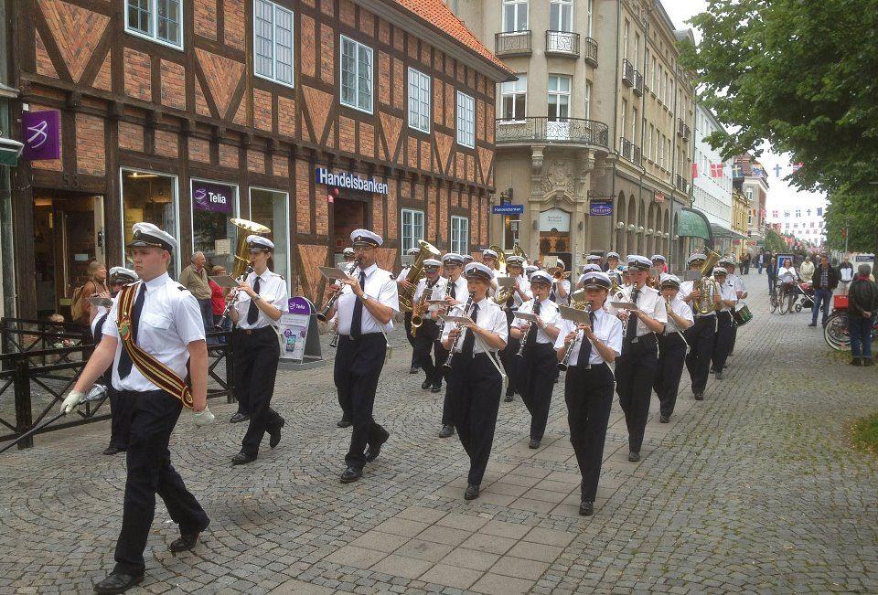 Music march in Karlshamns city center