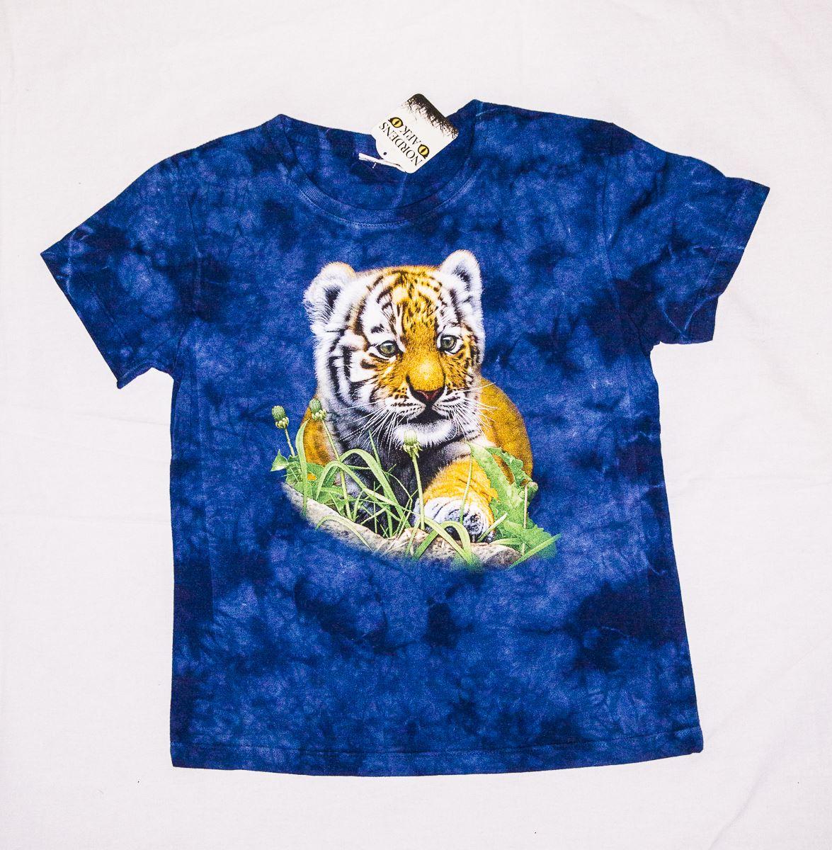 T-shirt blå amurtiger, 110 - 116 cl