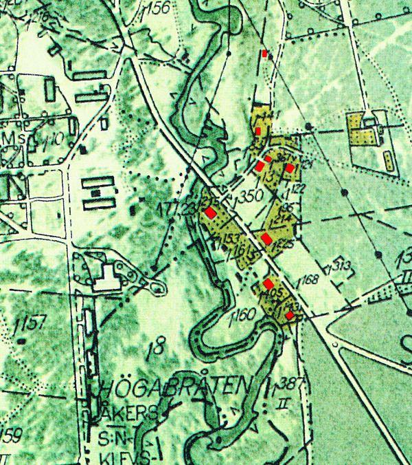 © Upphovsman: Ola Hugosson Upphovsrätt: Creative Commons, Ekonomiska kartan 1955 med rödmarkerade hus