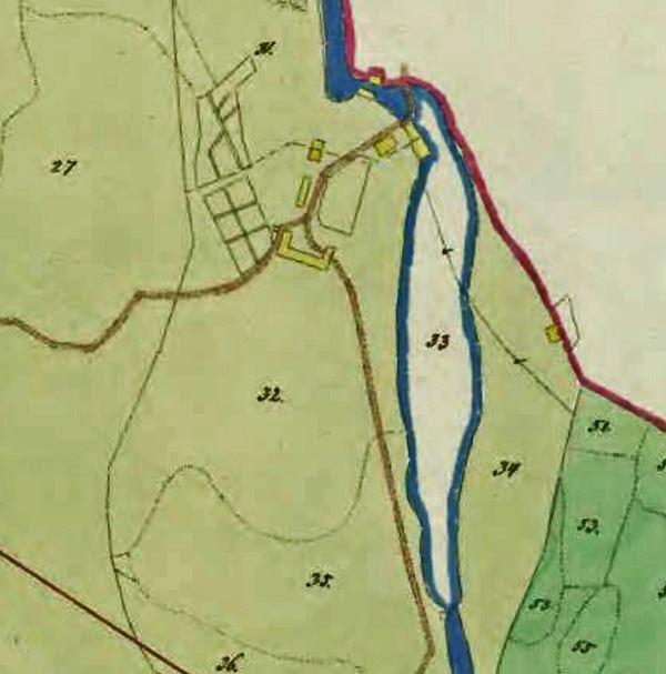 © Upphovsman: Ola Hugosson Upphovsrätt: Creative Commons, Karta visande ån och byggnaders placering 1836