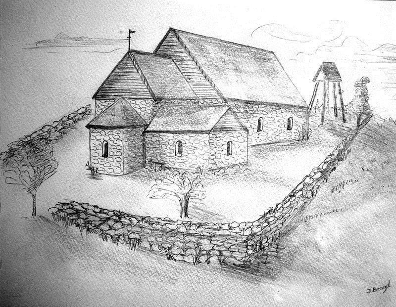 © Upphovsman: Teckning Inger Bragd 2006. Upplagd av Camilla Appelqvist, Teckningen grundad på bl.a. uppgifter om den medeltida kyrkogrunden.