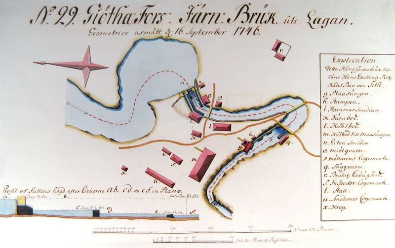 © Upphovsman: Upplagd av Camilla Appelqvist Upphovsrätt: Alla rättigheter reserverade , Karta över Götafors Järnbruk 1746.