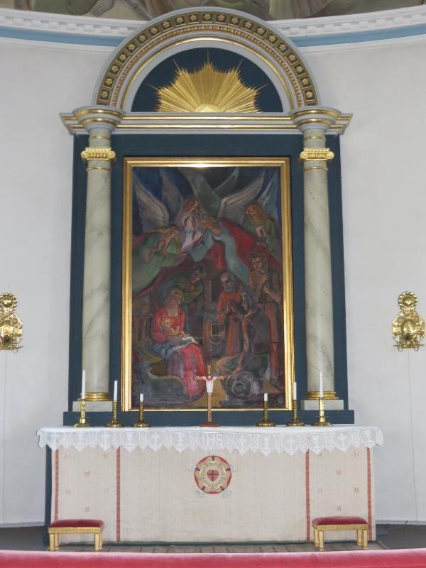 © Upphovsman: Ola Hugosson Upphovsrätt: Creative Commons, Altartavla Herdarnas tillbedjan målad av Kåge Liewendahl