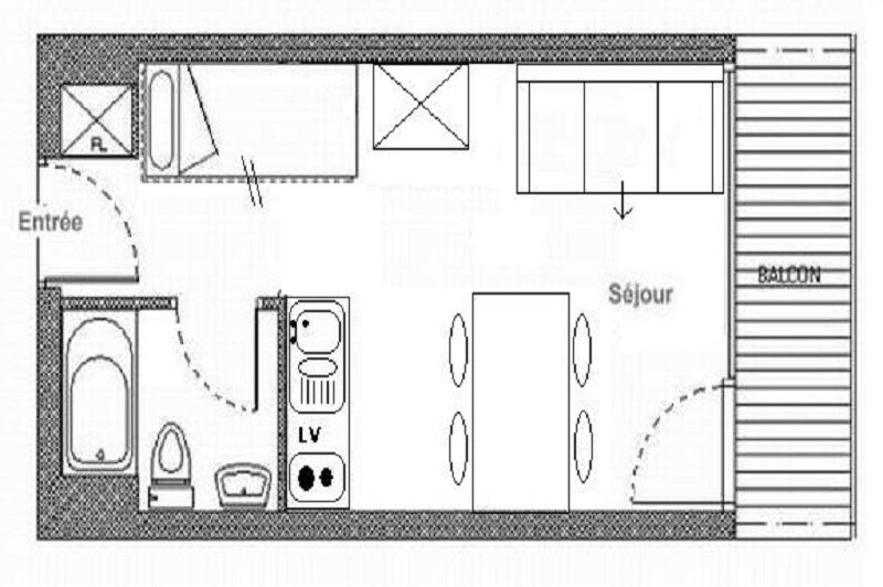 Studio 4 Pers skis aux pieds / ARAVIS 205