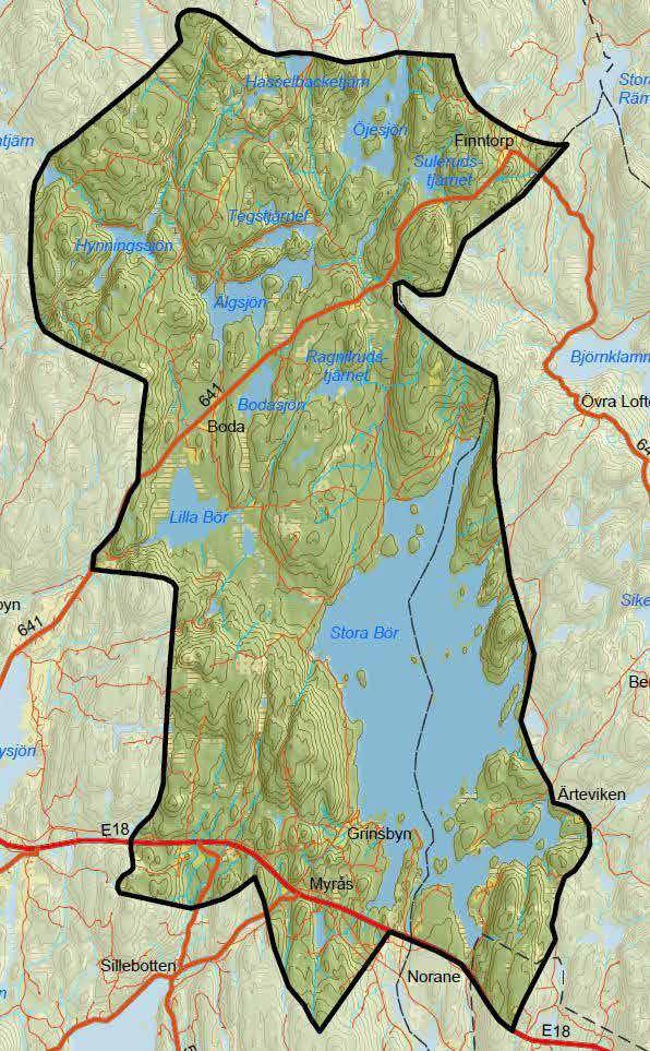 Karta över Stora Bör fiskevårdsområde i Årjäng