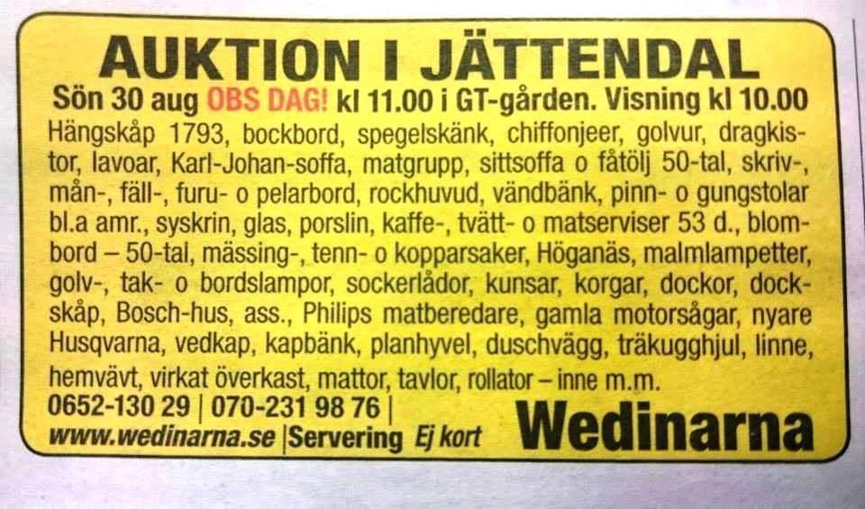 Auktion i Jättendal
