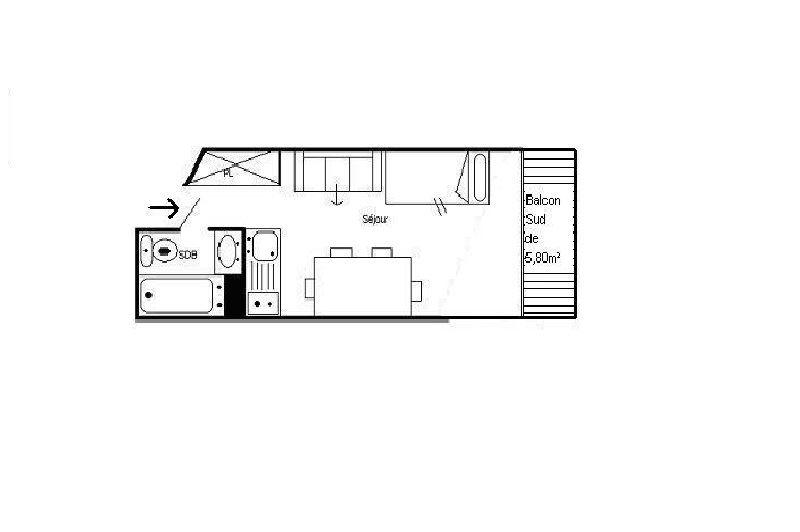 Studio 3 Pers skis aux pieds / GRANDE MASSE 610