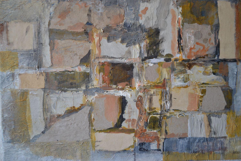 Konstutställning av målningar i blandteknik, kollage och akryl på Svedala Galleri