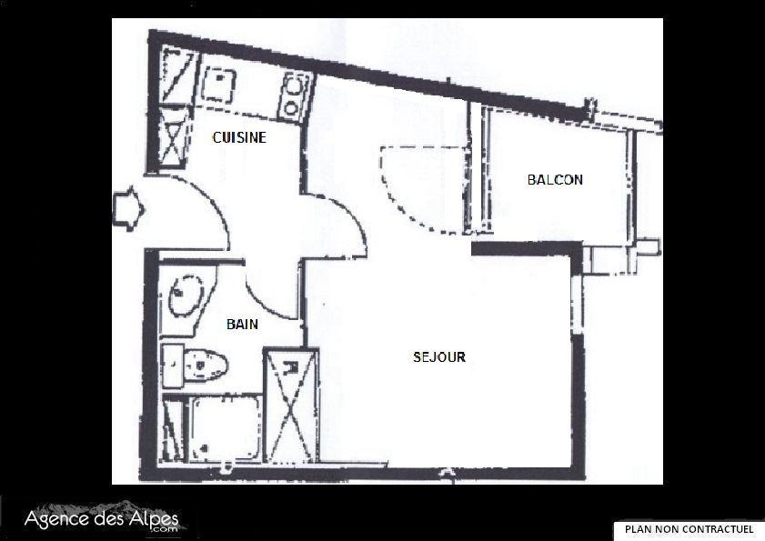 Studio 2 Pers skis aux pieds / SOLDANELLES 217