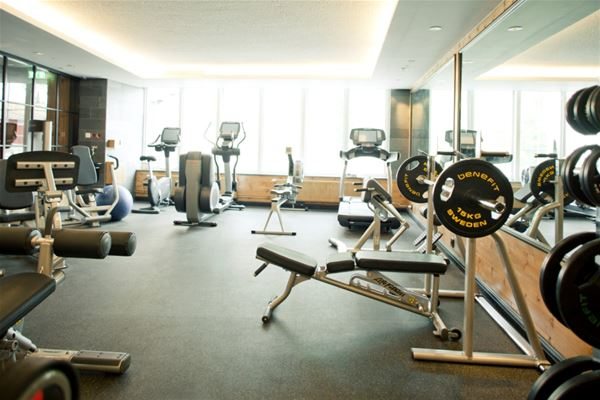 The gym with various exercise equipment.