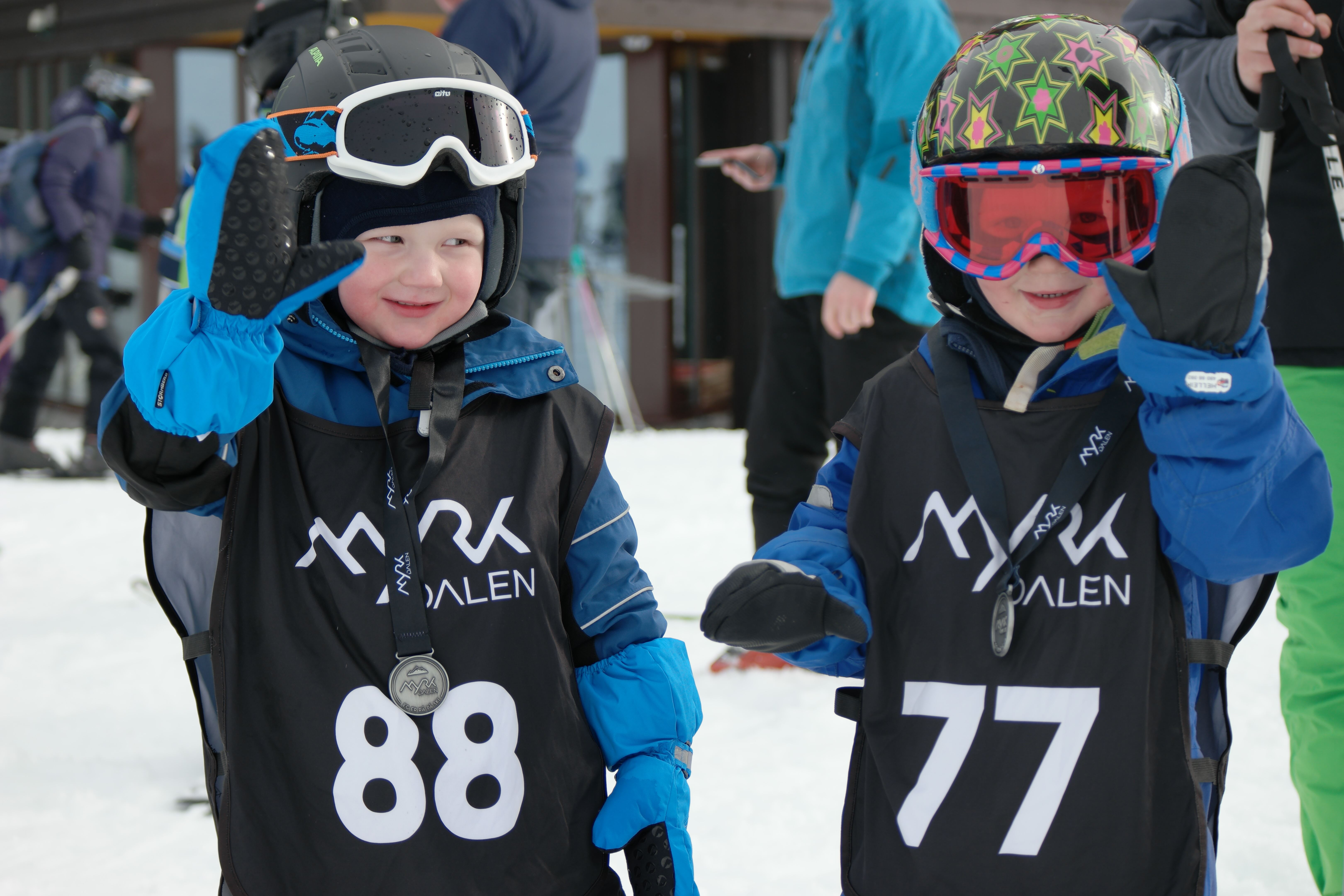 Fun skiing competition for kids