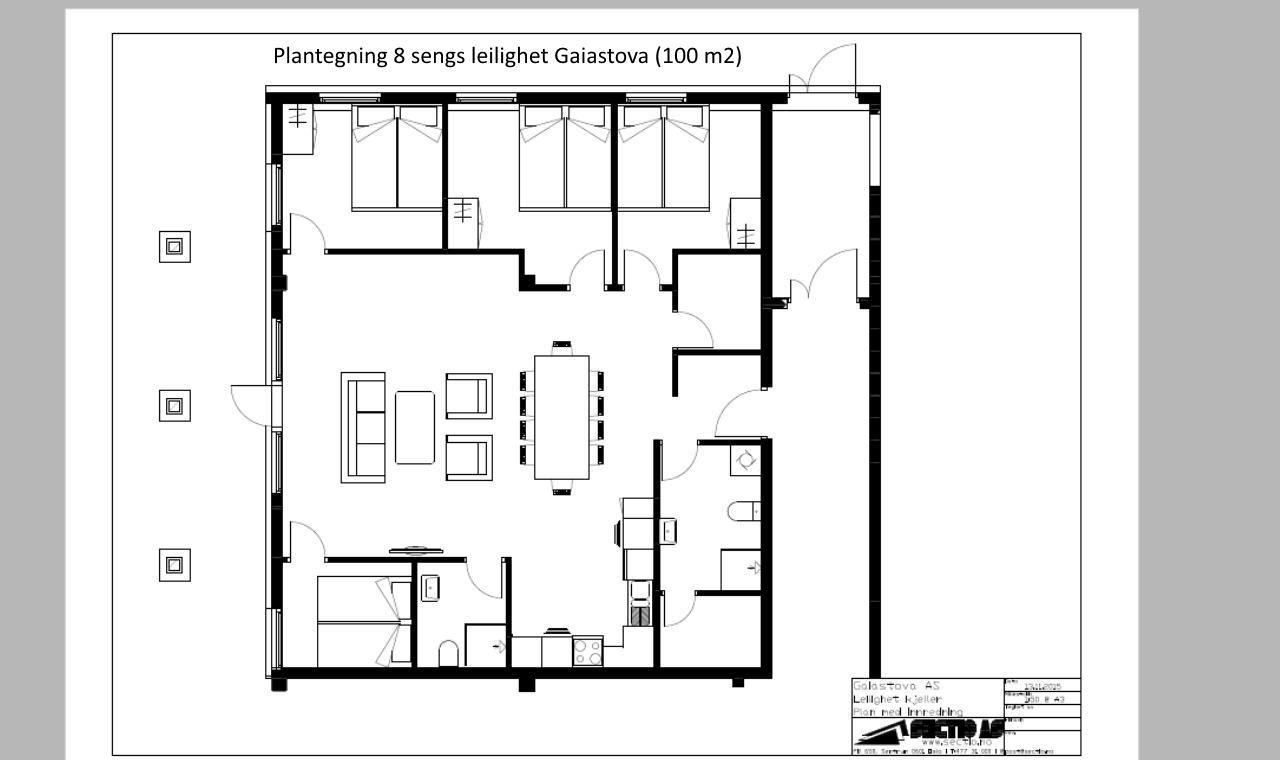 Planløsning 8 sengs leilighet