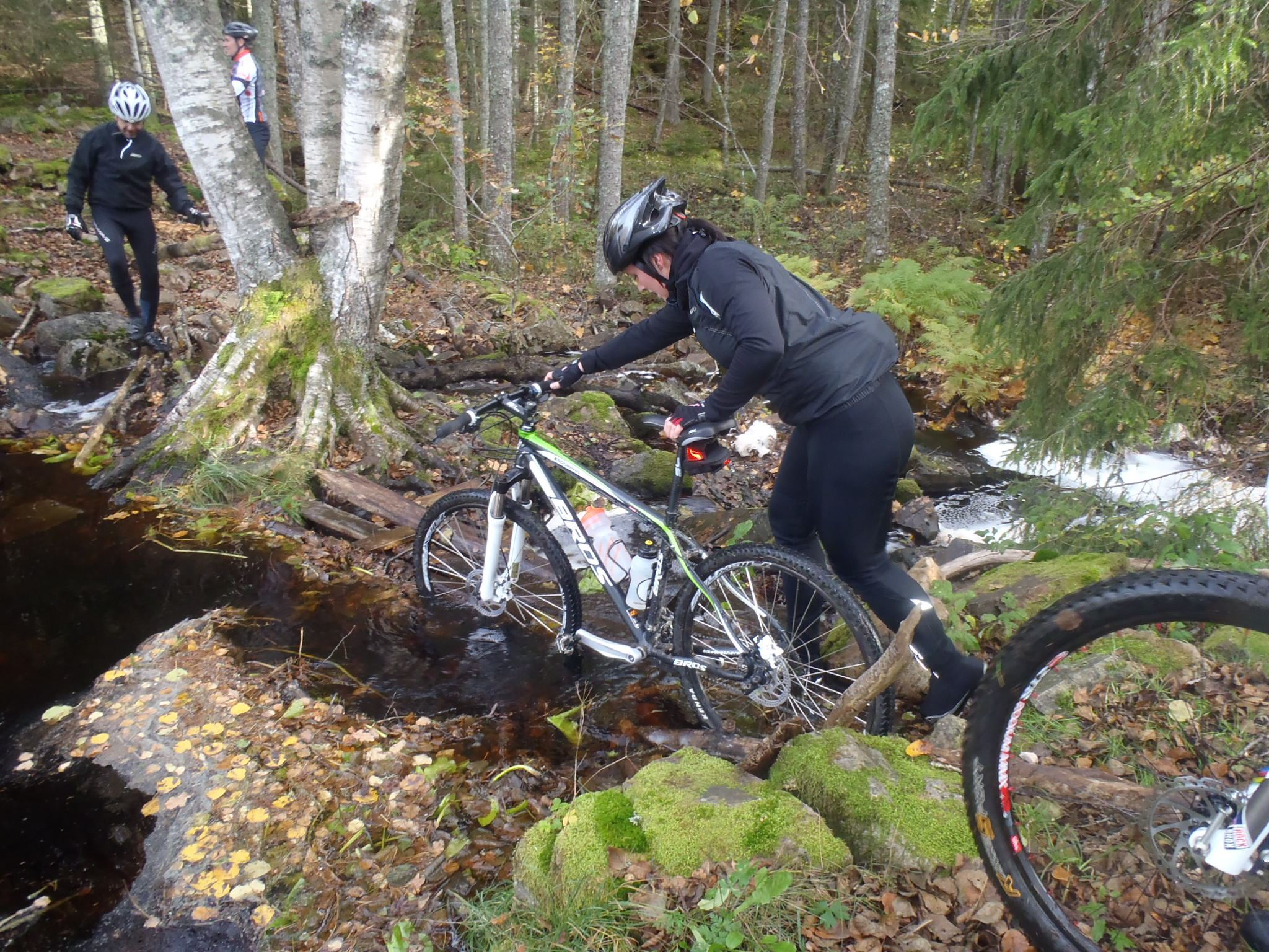 Biking on trails: tricky trail biking along lake Helgasjön