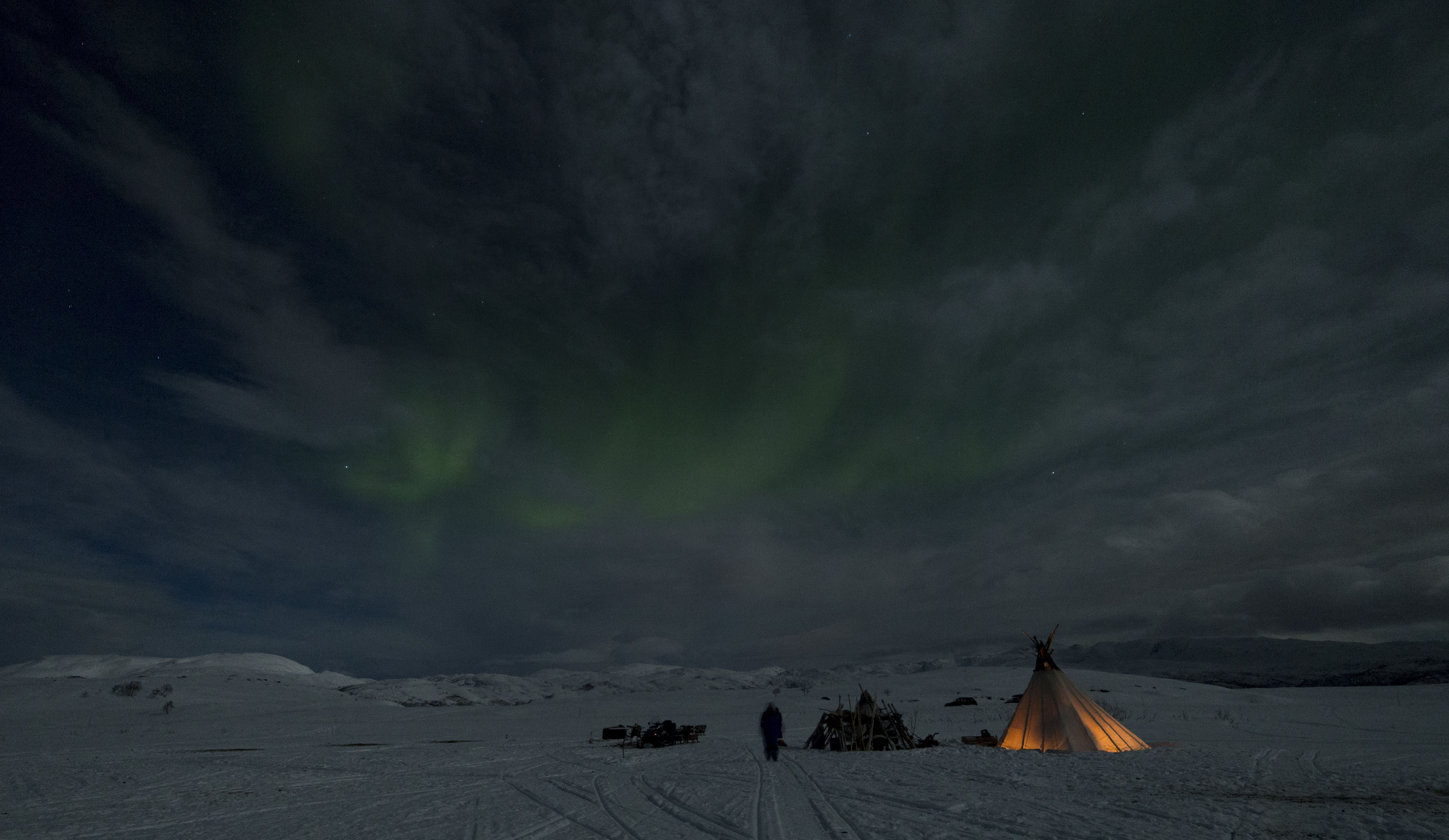 Stay Overnight in Lavvu with Northern Lights - Sami Adventure