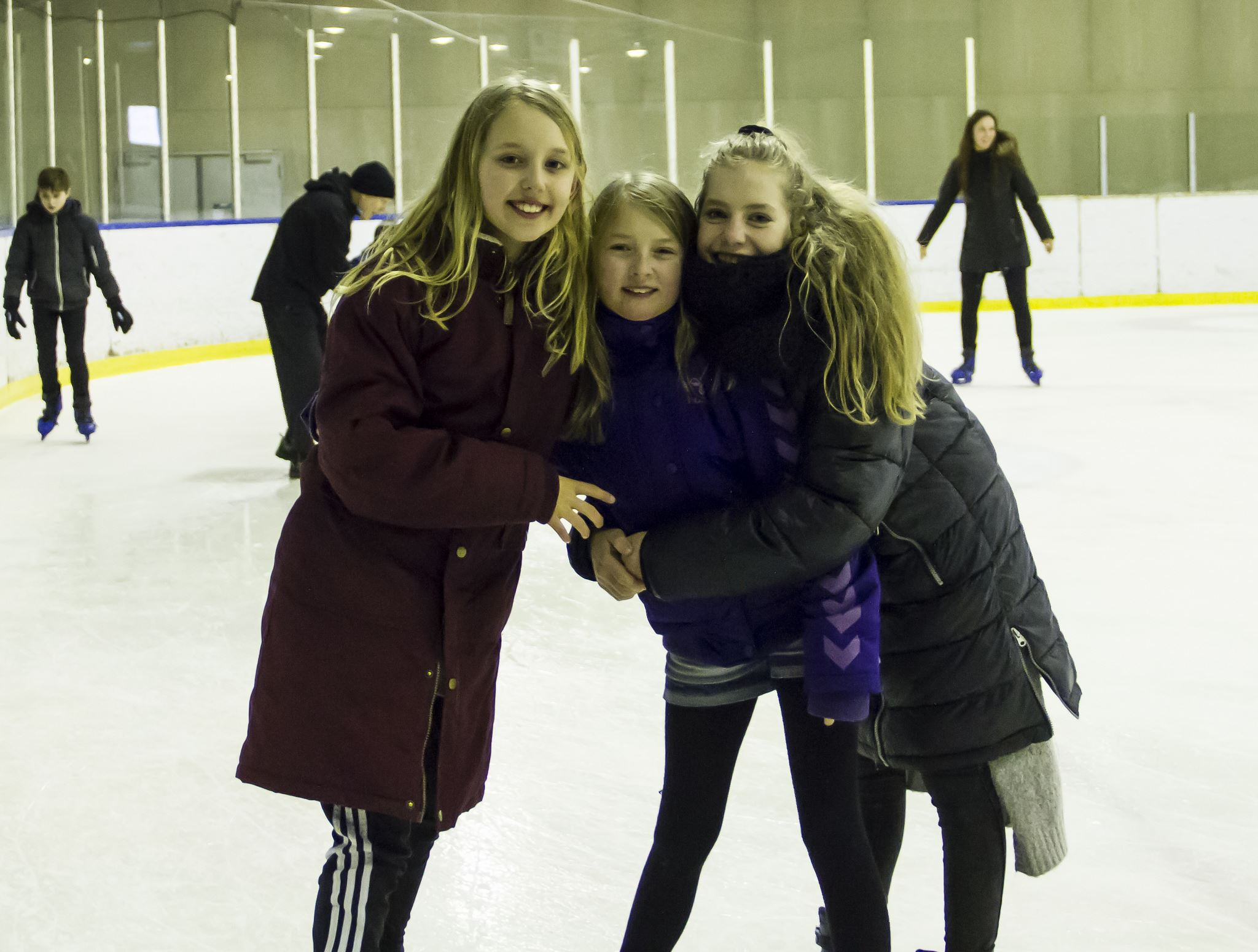 Ice skating with family and friends