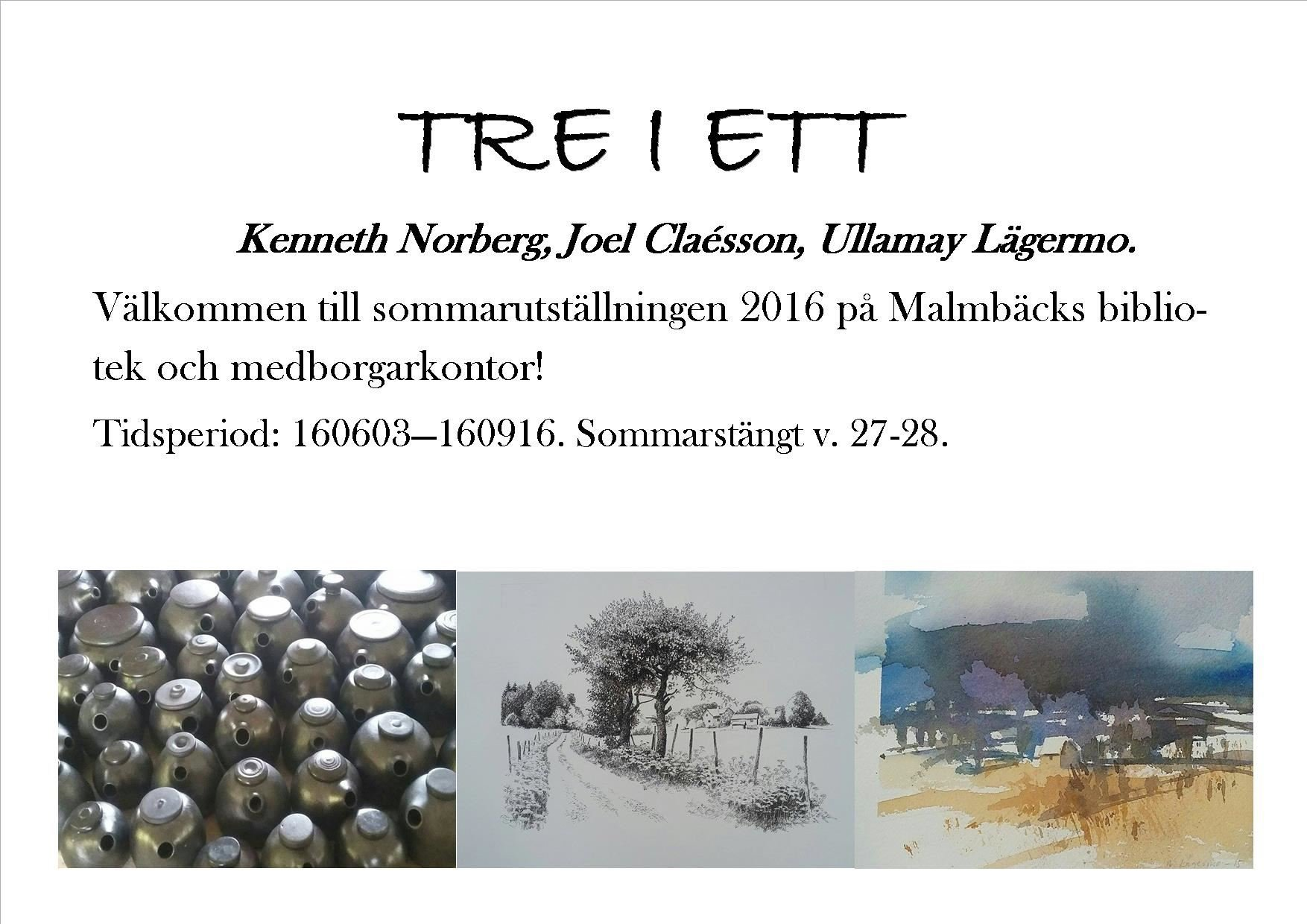 Tre i ett- sommarutställning i Malmbäck