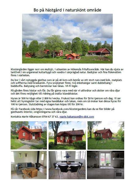 Bo på hästgård i naturskönt område.