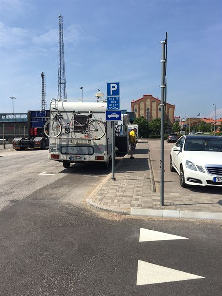 Park space for camper in Trelleborg city centre.