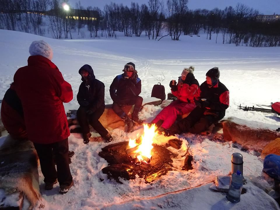 Guided snowshoe trip with a bonfire