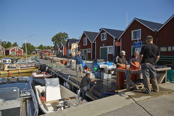 Bootshäuser und Hütten in Löruddens Fischerdorf
