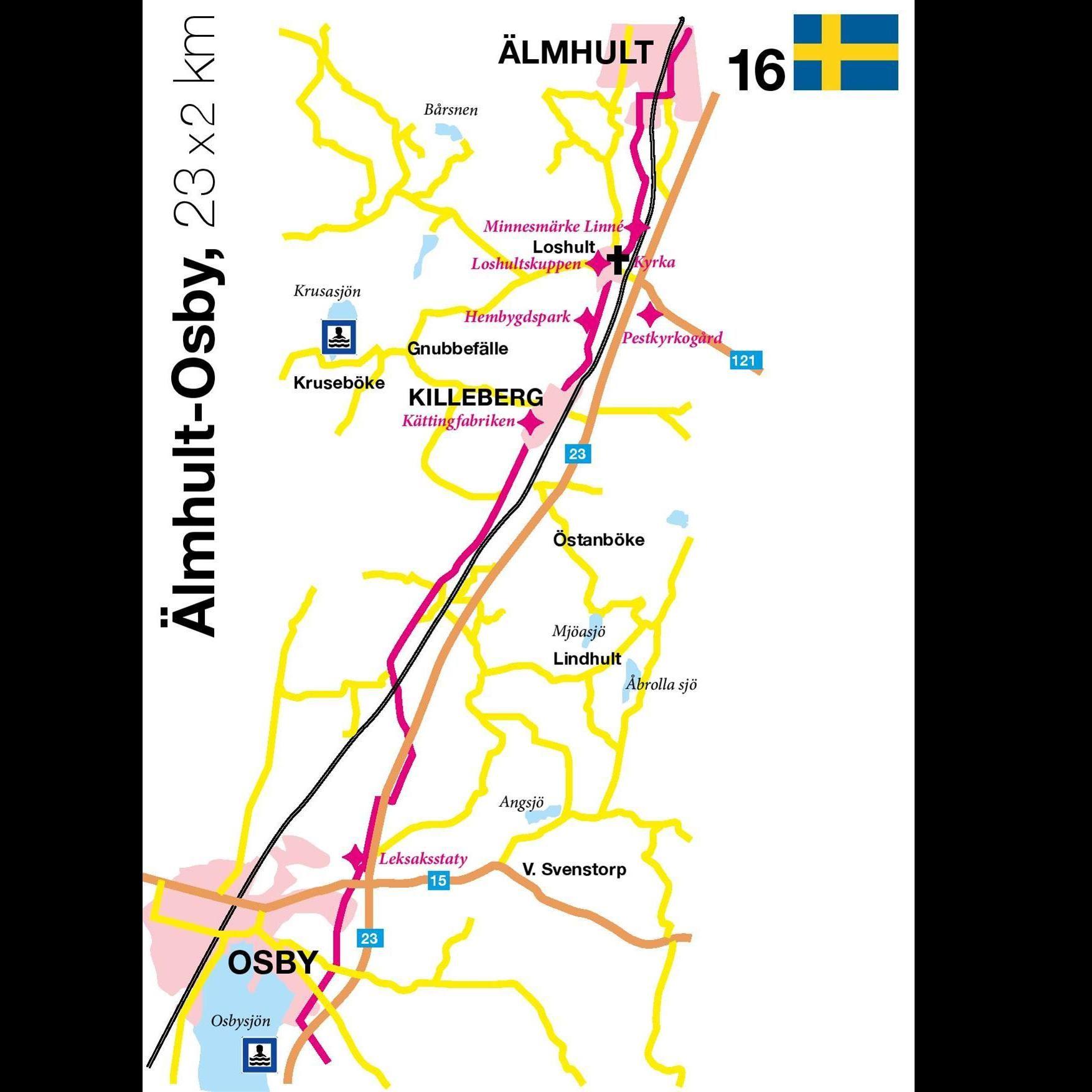 Cykeltur - Osbyleden - 23x2 km