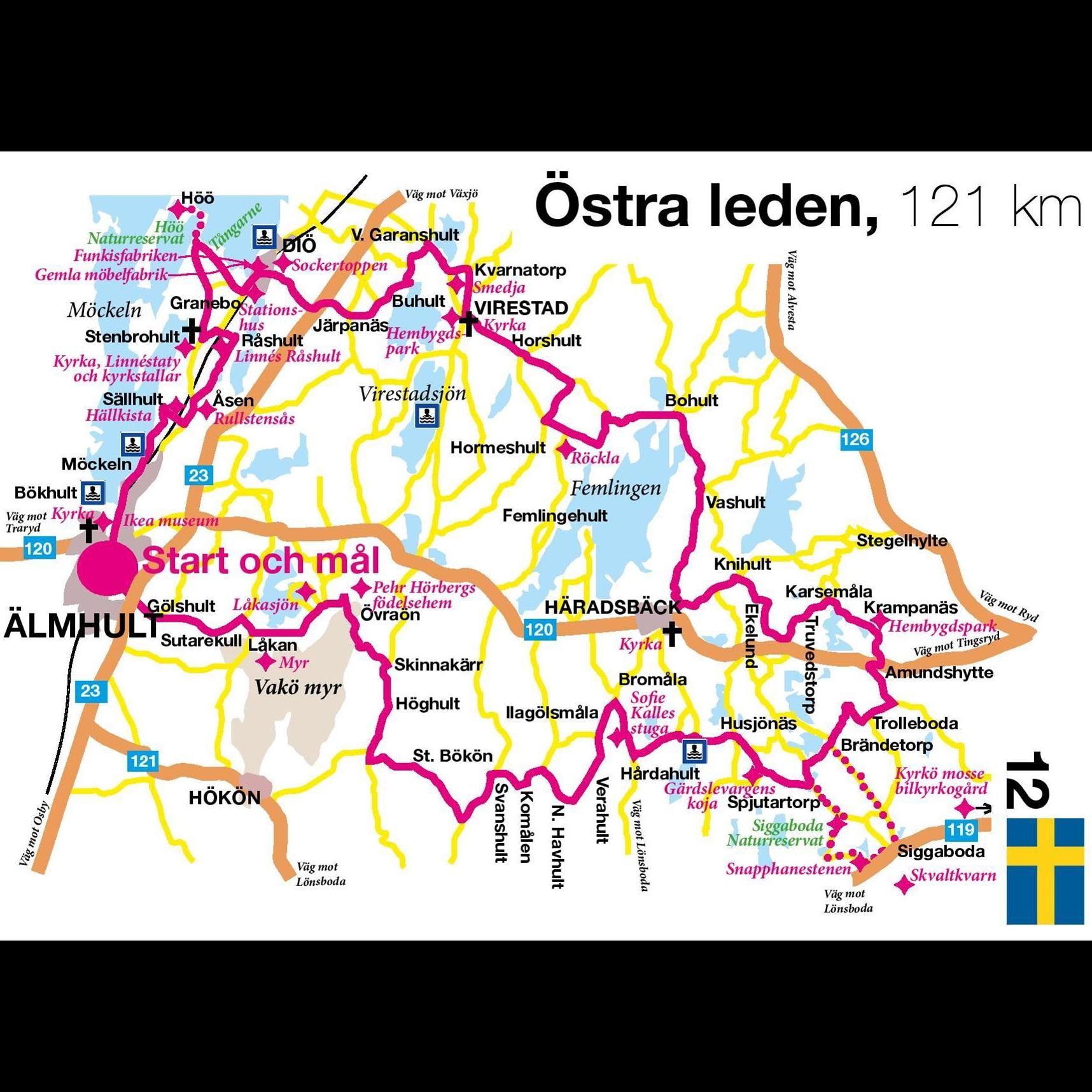 Cykeltur - Östra leden - 121 km